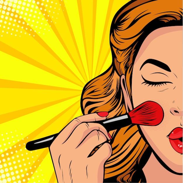 Pop art bellezza del viso. donna che fa trucco con pennello