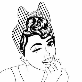 Pop art carina donna retrò in stile fumetto in bianco e nero