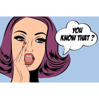 Pop art carino retrò donna in stile fumetto con il messaggio