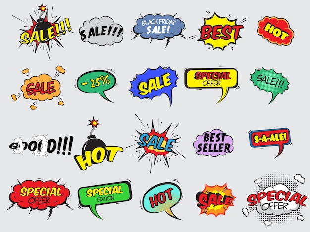 Pop art fumetto promozione di sconto icone decorative impostato con bomba esplosivo illustrazione vettoriale isolato