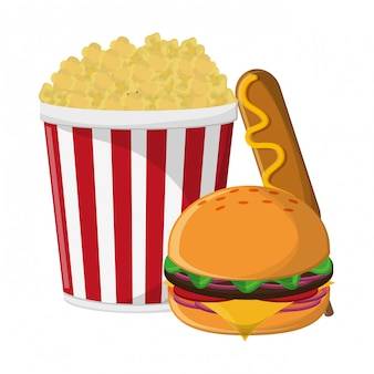Pop corn burger e hot dog