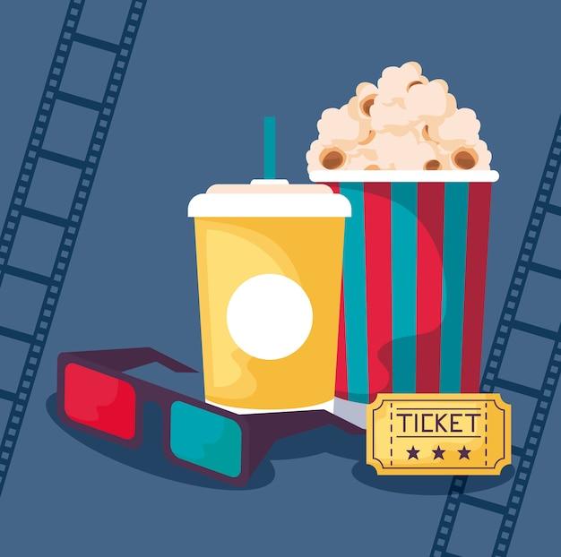 Popcorn con occhiali e bevande