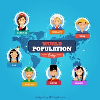Popolazione mondiale day background con nacionalities