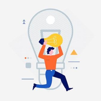 Popoli del fumetto che utilizzano dispositivi internet come smartphone e laptop con l'icona di stile di vita digitale. lampadina creativa. illustrazioni.