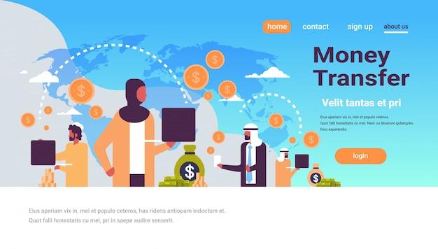 Popolo arabo utilizzando banner di trasferimento di denaro applicazione di pagamento globale