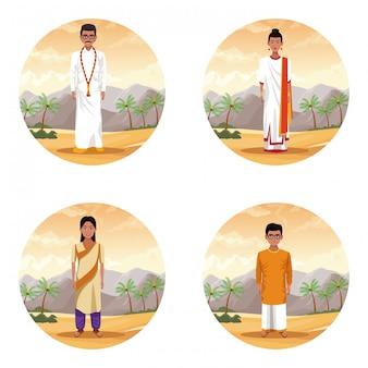 Popolo indiano etnico nel fumetto del deserto