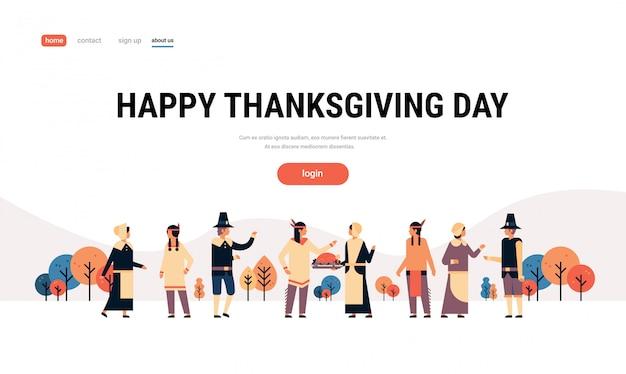 Popolo indiano nativo americano giorno del ringraziamento che celebra banner