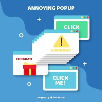 Popup fastidiosi colorati con design piatto