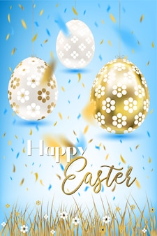 Porceline di pasqua e uova e coriandoli dorati nel cielo e nell'erba