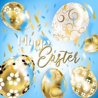Porceline di pasqua e uova e coriandoli dorati nel cielo