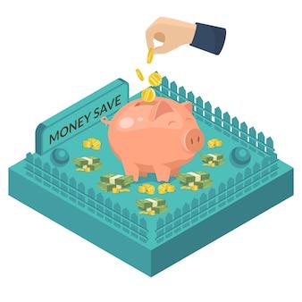 Porcellino salvadanaio con i contanti della moneta, illustrazione del settore bancario. mano con soldi, concetto finanziario del deposito di valuta a fondo