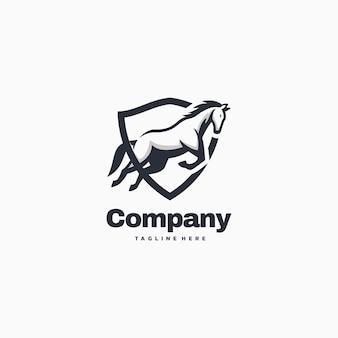 Porcile semplice della mascotte di logo illustration horse company