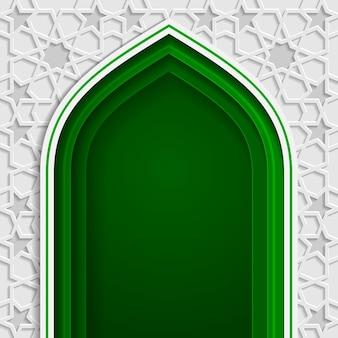Porta ad arco moschea di design islamico per biglietto di auguri ramadan kareem ed eid mubarak
