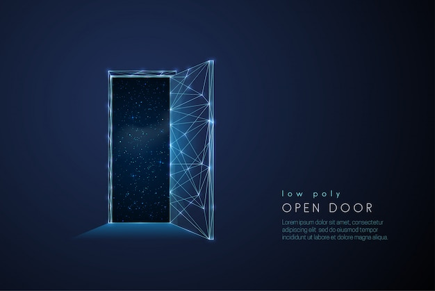 Porta aperta astratta all'universo