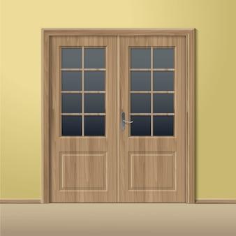 Porta chiusa di legno di vettore con la struttura isolata