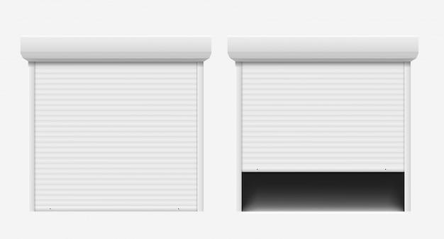 Porta del garage. porta automatica della costruzione, porta d'ingresso dell'otturatore in alluminio in acciaio. le serrande avvolgibili proteggono il sistema, impostare