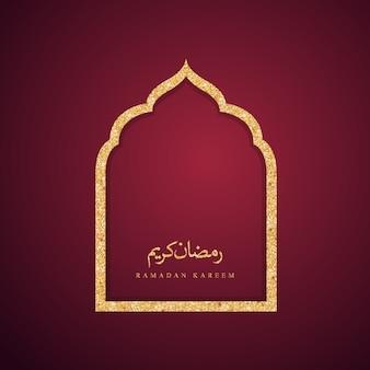Porta della moschea di design islamico per saluto sfondo ramadan kareem