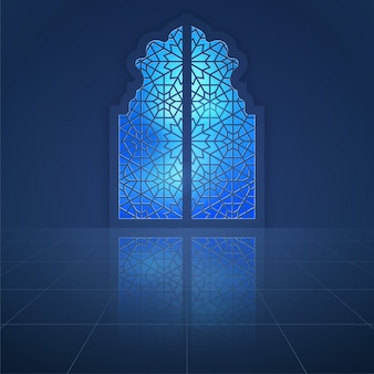 Porta della moschea interna con motivo arabo