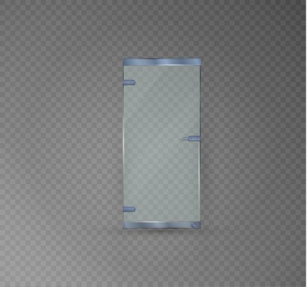 Porta di vetro su uno sfondo trasparente. illustrazione di un ufficio lucido o di una boutique, porte trasparenti con maniglia sagomata. bordatura argentata. metallo.