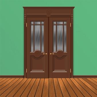 Porta in legno doppia porta vettoriale