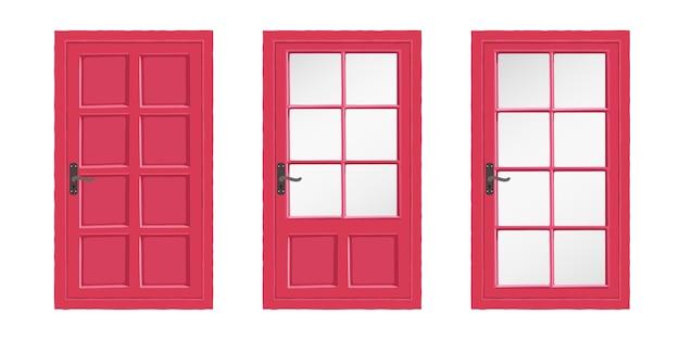 Porta in legno rossa di diversi tipi.