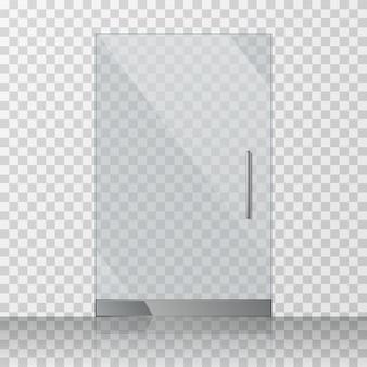 Porta trasparente in vetro trasparente isolata