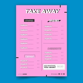 Porta via il menu del ristorante rosa