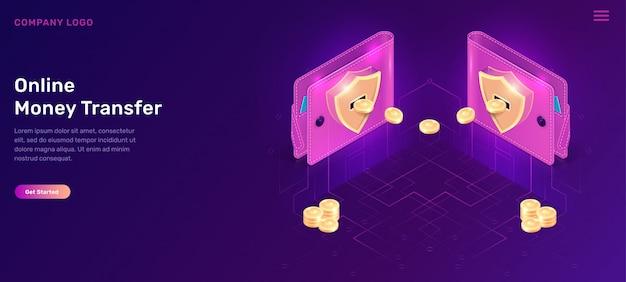 Portafogli isometrici di trasferimento di denaro online con monete