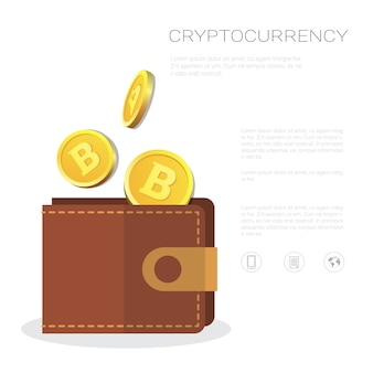 Portafoglio bitcoin con monete d'oro icona crypto valuta mineraria e concetto di trading