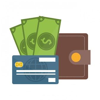 Portafoglio con contanti e carta di credito