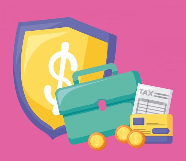 Portafoglio con economia e finanziaria con set di icone