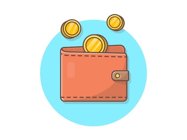 Portafoglio con l'illustrazione dell'icona di vettore delle monete di oro di volo