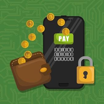 Portafoglio con monete virtuali e smartphone