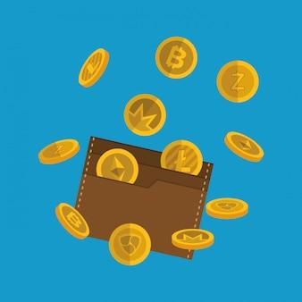 Portafoglio con monete virtuali