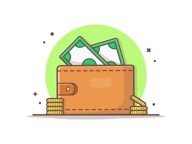 Portafoglio con soldi e moneta d'oro