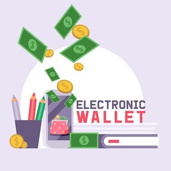 Portafoglio di affari della borsa di cuoio di finanza di walletpattern con il contesto dell'illustrazione dei soldi delle banconote
