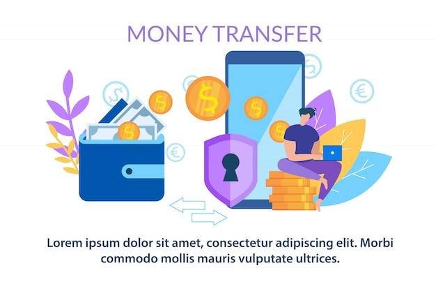 Portafoglio di trasferimento di denaro all'applicazione del telefono cellulare