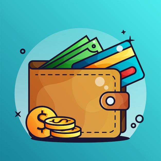 Portafoglio e denaro con una carta di credito