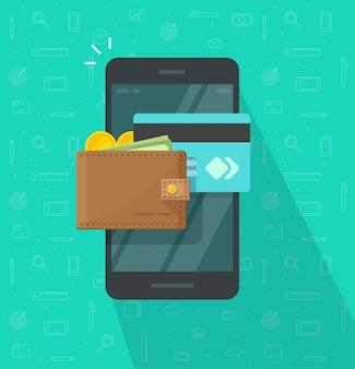 Portafoglio elettronico o digitale sulla progettazione piana del fumetto dell'icona del telefono cellulare