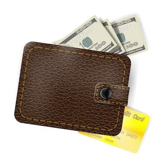 Portafoglio in pelle con dollari e una carta di credito in oro