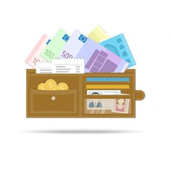 Portafoglio uomo aperto in pelle con euro, monete d'oro, assegni, carte di credito, patente di guida