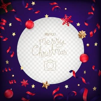 Portafoto con elementi natalizi e coriandoli