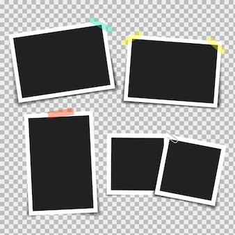 Portafoto con nastro adesivo di diversi colori e graffetta.