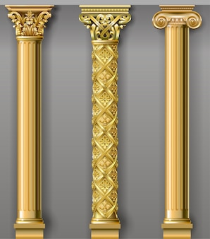 Portale ad arco classico di lusso dorato con colonne