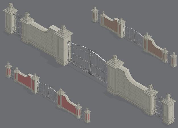 Portale del cancello isometrico di vettore