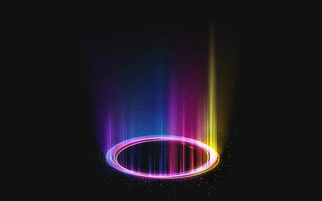 Portale rotondo arcobaleno magico sul nero