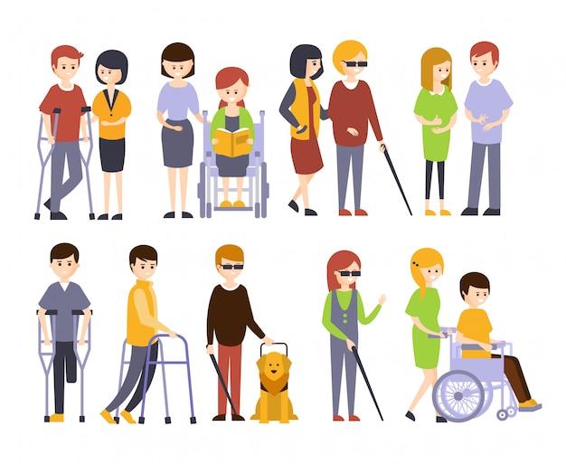 Portatori di handicap fisici che ricevono aiuto e sostegno dalla famiglia dei loro amici, godendo della vita piena con disabilità serie di illustrazioni sorridenti disabili uomini donne