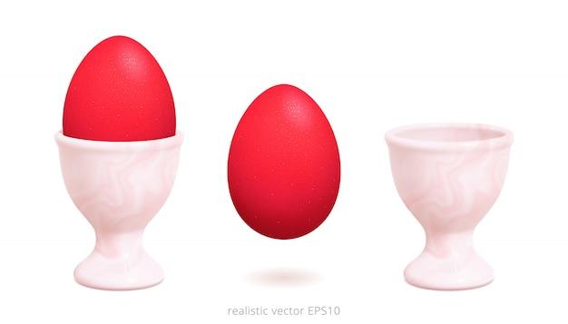 Portauovo vettore. uovo di pasqua rosso con una superficie scintillante. gli oggetti realistici 3d sono isolati su uno sfondo bianco. supporto vintage con una texture fluida rosa chiaro.