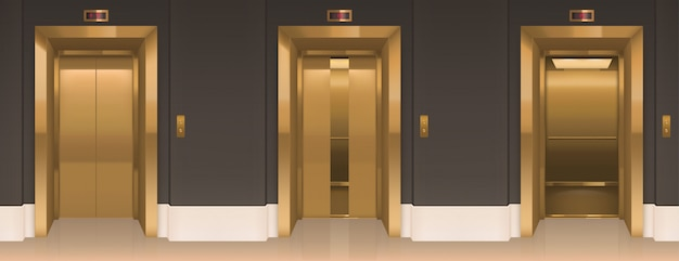 Porte dell'ascensore d'oro. corridoio dell'ufficio con cabine ascensore