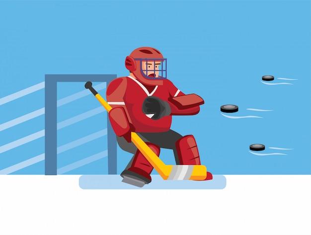 Portiere di hockey su ghiaccio tenta di catturare molti puck, personaggio di custode di hockey nel gioco di sport di hockey su ghiaccio con sfondo blu nell'illustrazione piatta del fumetto modificabile